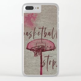 basketball never stops Clear iPhone Case