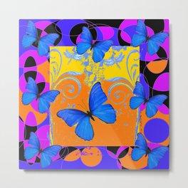 Colorful Modern Blue Butterflies Purple & Gold Black Design Metal Print