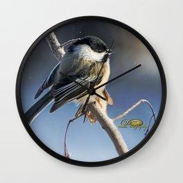 Christmas Chickadee II Wall Clock