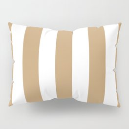 Fallow brown -  solid color - white vertical lines pattern Pillow Sham