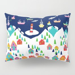 Scandinavian Rainbow Village and Fishing boats in the Fjord Pillow Sham