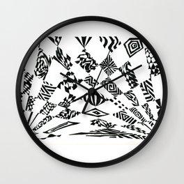 Spotlights, Black/White Abstract (Ink Drawing) Wall Clock