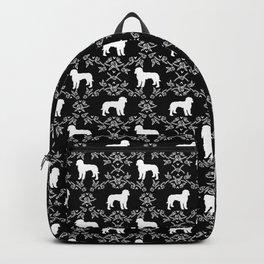 Golden Doodle dog breed silhouette floral dog breed pattern doodles black and white Backpack