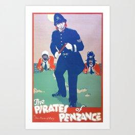 Vintage Art Deco pre 1920's Theatre Play Poster Style Penzance Art Print