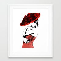 hat Framed Art Prints featuring hat by Ruth Rosenzweig