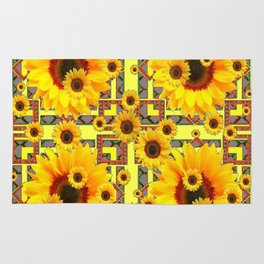 KANSAS WESTERN STYLE YELLOW SUNFLOWER FLORAL Rug
