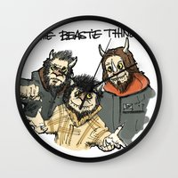 beastie boys Wall Clocks featuring Where The Beastie Things Are by Derek Salemme