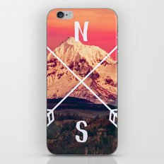 Compass Mountains and Forest Map - Mt Hood Snow Mountain and Trees iPhone & iPod Skin