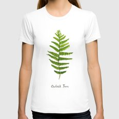 Ostrich fern LARGE White Womens Fitted Tee