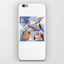 Birds bullfinches in blue, grey and orange colors iPhone Skin