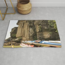 Outriggers By Massive Rocks in Exotic Marquesas Islands Rug