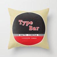 bar Throw Pillows featuring Type Bar by One Little Bird Studio