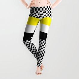 Checkerboard white black and yellow Leggings
