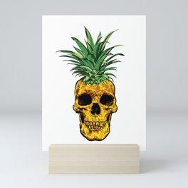 Pineapple Head Skull Head Skeleton Funny Pineapple Gift Mini Art Print