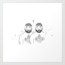 twins with forests on their chins and chests Art Print