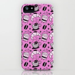 Coffee, tea and croissants for everyone! - Hot pink iPhone Case