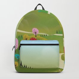Cartoon hilly landscape Backpack