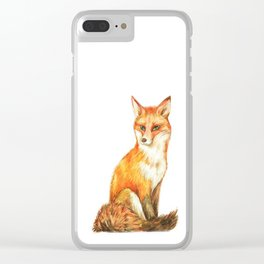 Red Fox in the White Silence Clear iPhone Case