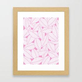 Leaves in Flamingo Framed Art Print