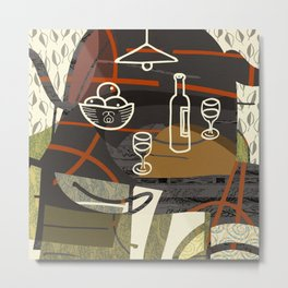 Still Life with Oranges and Wine Metal Print