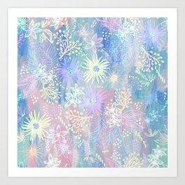Eden Floral Pastel Blue Art Print