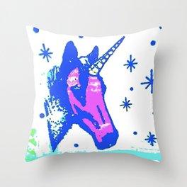 Neon unicorn Throw Pillow