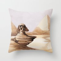 egypt Throw Pillows featuring Dark egypt by Tony Vazquez