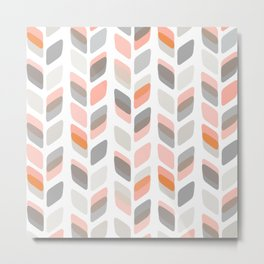 Modern Rectangle Print with Retro Abstract Leaf Pattern Metal Print