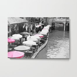 A Lovely Brunch By The River Pink Metal Print