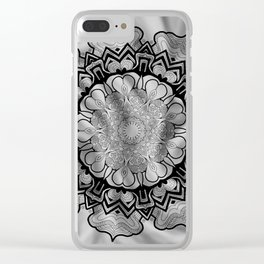 Gray Swirl Mandala Clear iPhone Case