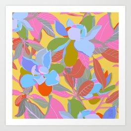 Magnolias on Yellow Art Print