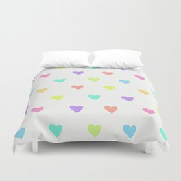 Cute Pastel Rainbow Hearts Pattern Duvet Cover