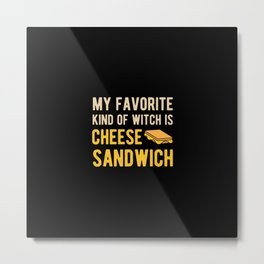 Funny Cheese Sandwich Metal Print