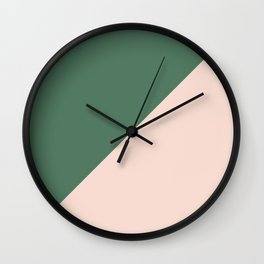 Soft Pink & Army Green - oblique Wall Clock
