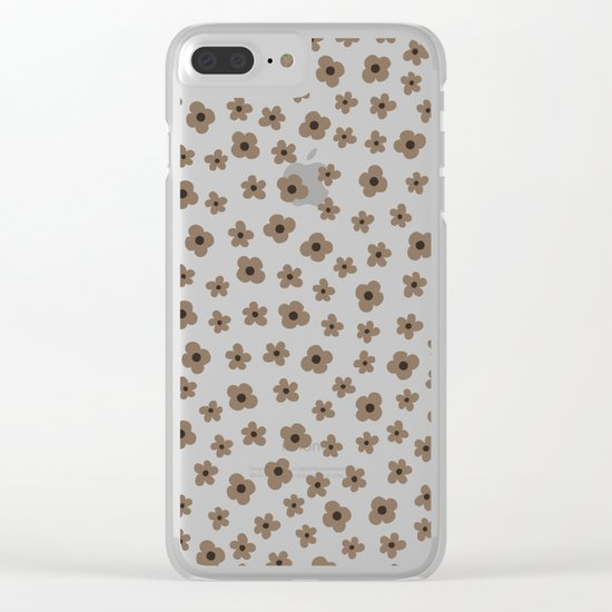 Coffee Brown White Flower Pattern Clear iPhone Case