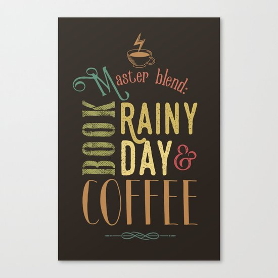 Coffee, book & rainy day Canvas Print