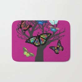 Butterfly and Tree - Cranberry Bath Mat