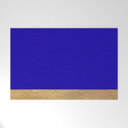 Color Blocked Gold & Cerulean Welcome Mat