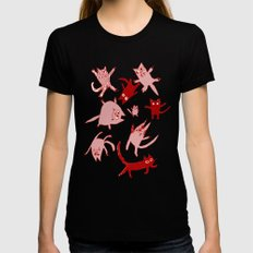 levitating kitties X-LARGE Womens Fitted Tee Black
