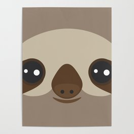 funny and cute smiling Three-toed sloth on brown background Poster