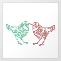 birdy Art Prints featuring Birdy by Charline Denys
