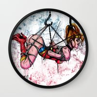 bondage Wall Clocks featuring Bondage Wonderowman by lucille umali