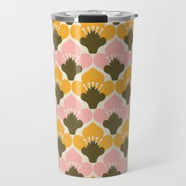 Yellow & Pink Flower Pattern Travel Mug