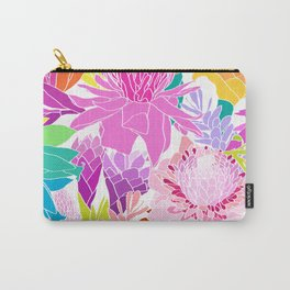 Ginger Flowers in Tropical Rainbow + White Carry-All Pouch