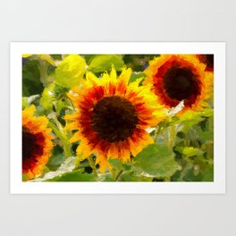 Digital Painted Sunflowers Art Print