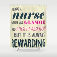 nurse Shower Curtains featuring NURSE by I Love Decor