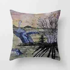Blue Breaching Whale  Throw Pillow