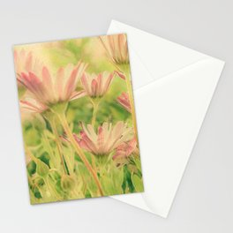 Vintage Spring Coral Pink Daisy Flowers Stationery Cards