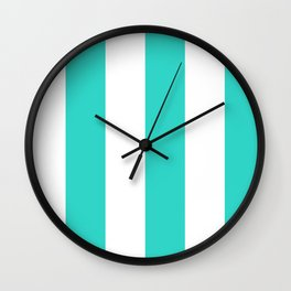 Wide Vertical Stripes - White and Turquoise Wall Clock