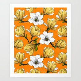 Magnolia garden in yellow Art Print